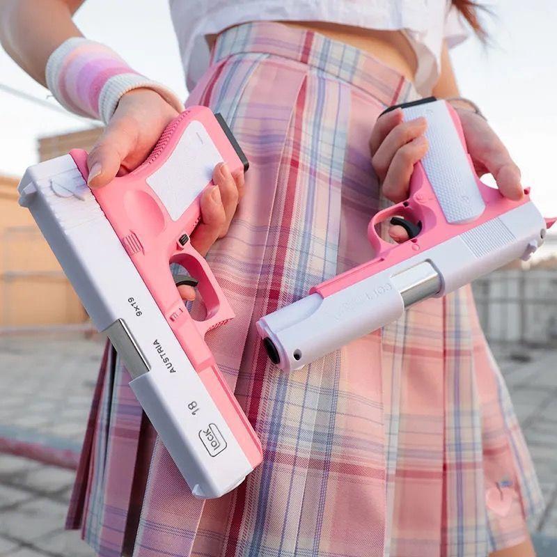抛壳格洛克手动上膛可发射软弹男孩玩具枪少女粉仿真吃鸡模型手枪