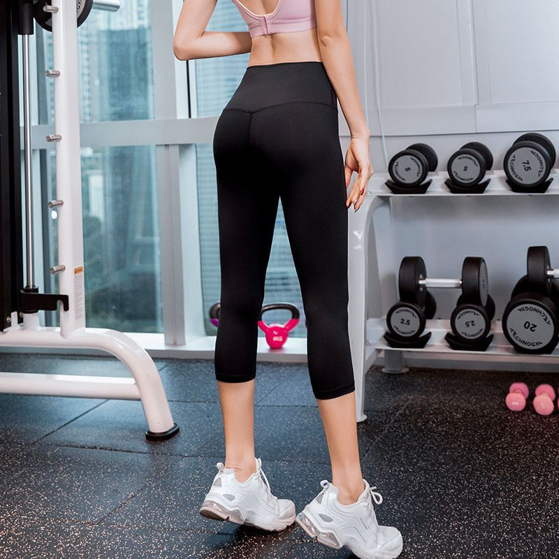 夏季瑜伽七分裤女美腿蜜桃高腰提臀紧身裤运动健身跑步速干七分裤