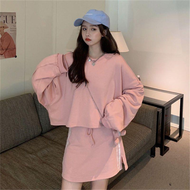 75712-卫衣半身裙两件套秋季2021新款学院风粉色短款无帽宽松长袖上衣女-详情图