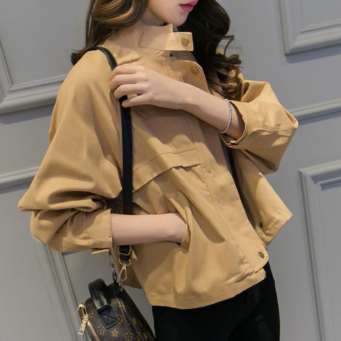 秋季女装2021新款韩版BF风宽松百搭时尚短外套女学生长袖短款风衣
