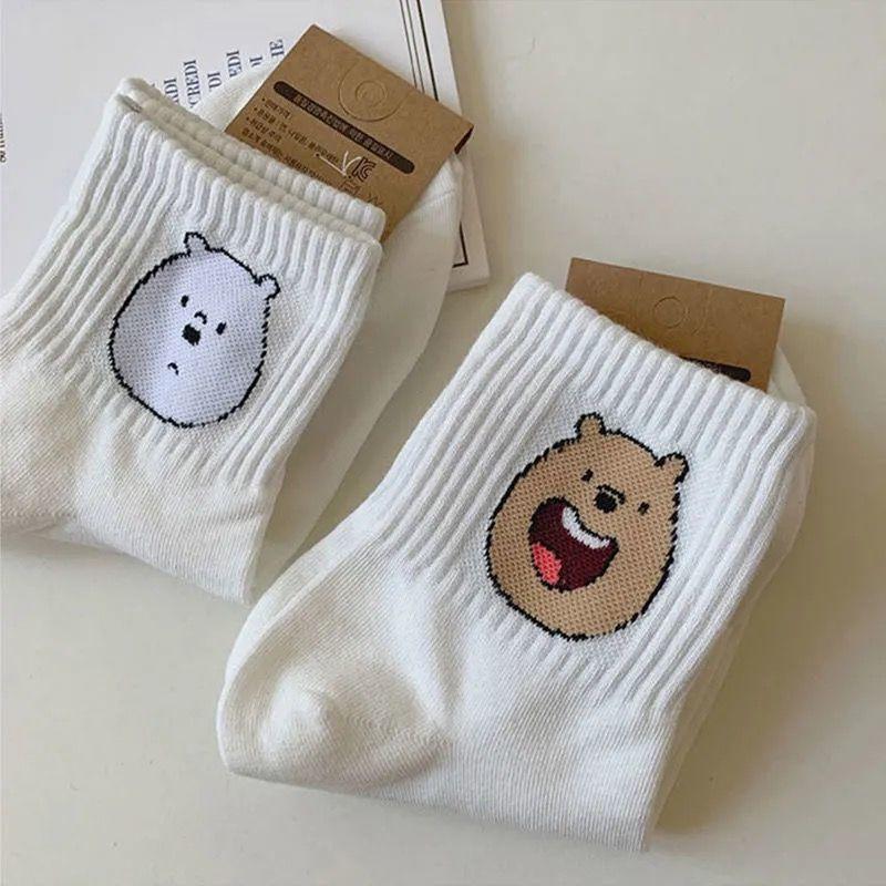 袜子女中筒袜可爱日系白熊卡通ins潮白色女袜学生百搭韩版运动袜
