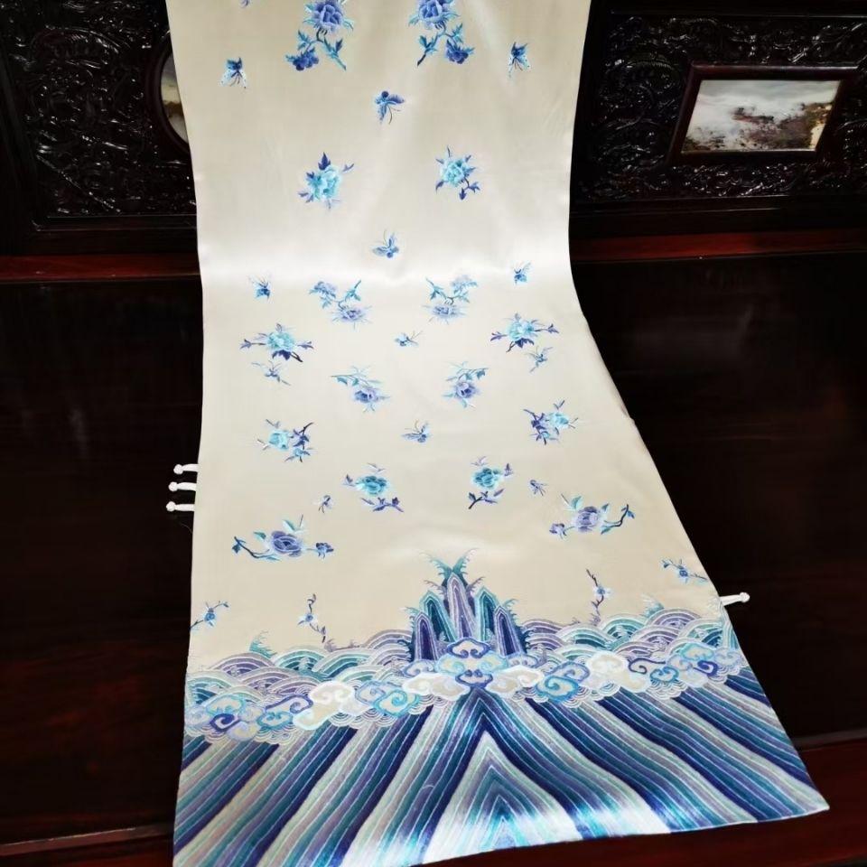 中国风复古风重工苏绣江崖海水纹牡丹披肩桑蚕丝青花瓷图案
