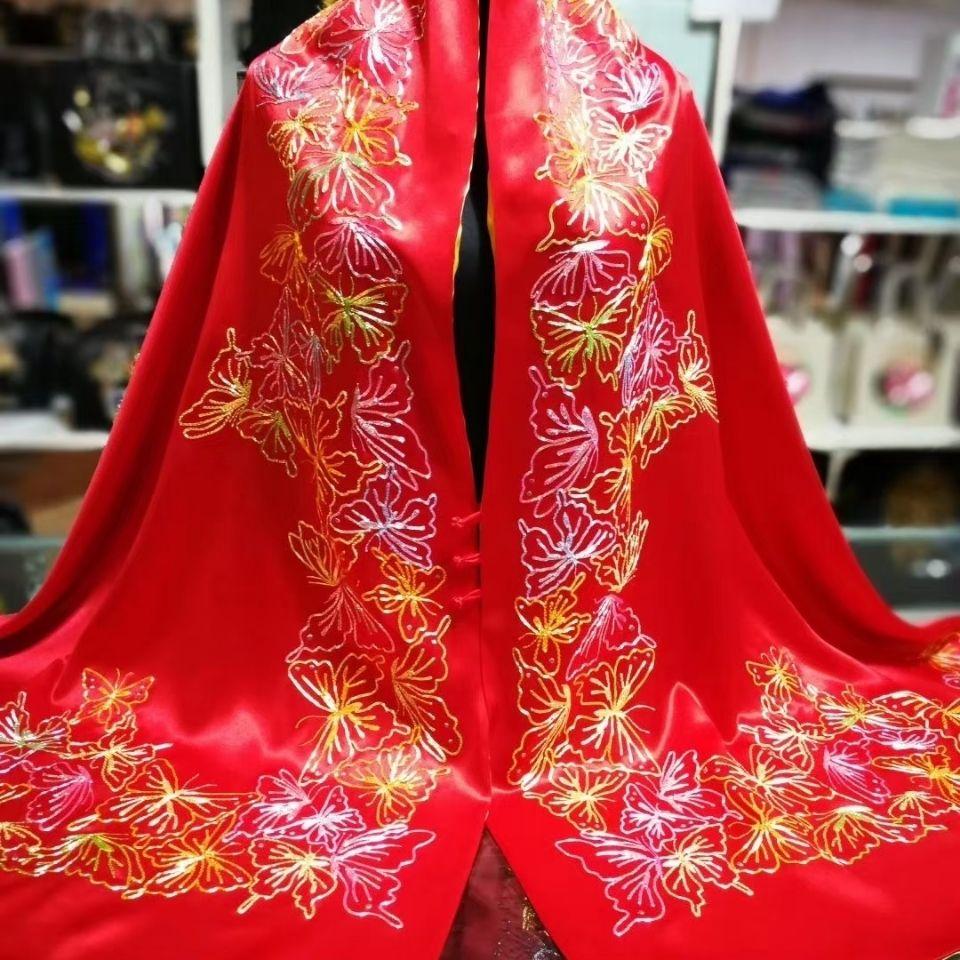 中国风复古风百蝶图披肩材质蝴蝶桑蚕丝工艺盘金或盘银绣