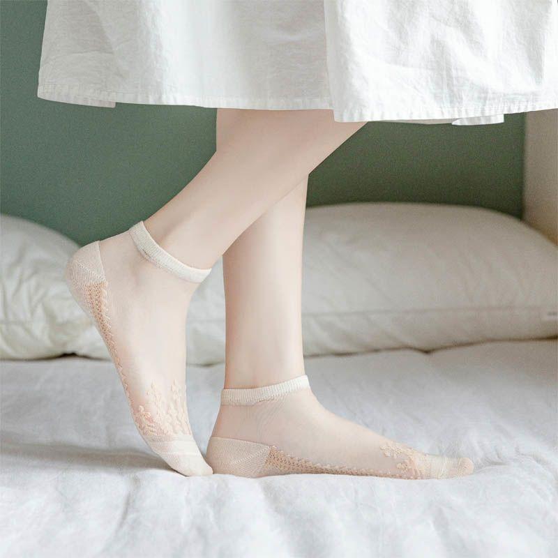 3/8双装袜子女薄款透明玻璃丝水晶丝袜短袜隐形袜女士防滑船袜