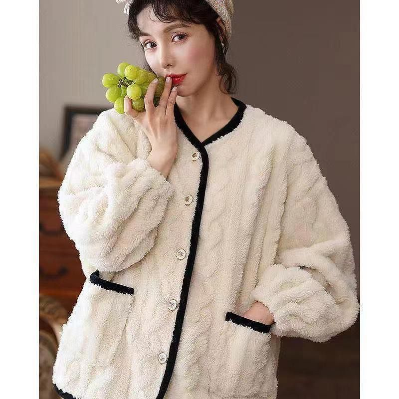睡衣女士秋冬季冬款冬天珊瑚绒加厚加绒保暖法兰绒家居服女可外穿
