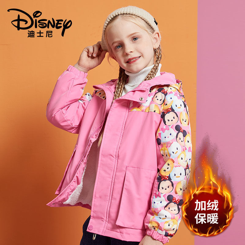 迪士尼女童秋冬新款羊羔绒加绒加厚棉衣中大童防风棉服保暖外套