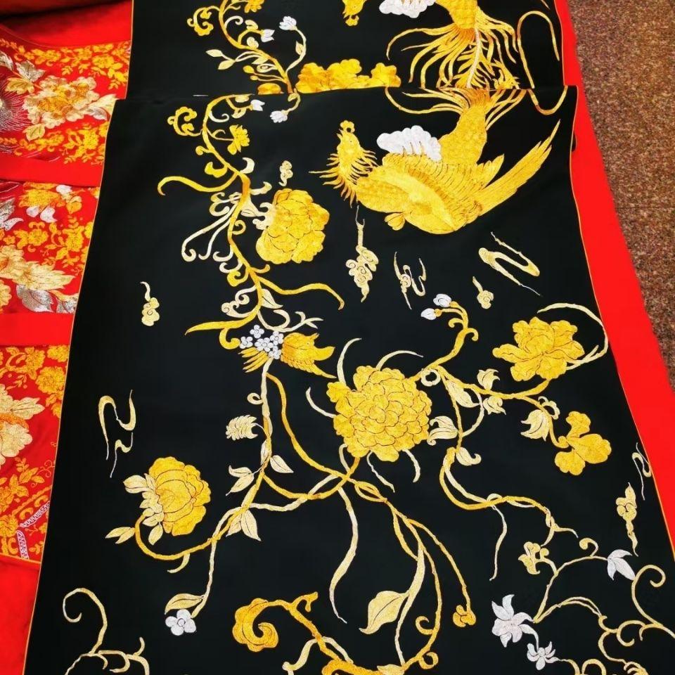 中国风复古风苏绣披肩(双凤)材质重绉桑蚕丝工艺盘金绣走秀上衣