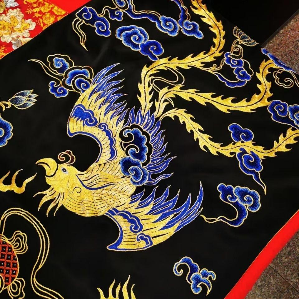 中国风复古风苏绣披肩龙凤呈祥重磅真丝桑蚕丝盘金绣盘扣上衣走秀