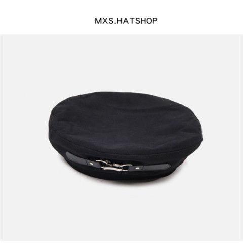 76666-黑色贝雷帽女皮扣设计款暗黑日系小众平顶帽英伦百搭复古画家帽潮-详情图