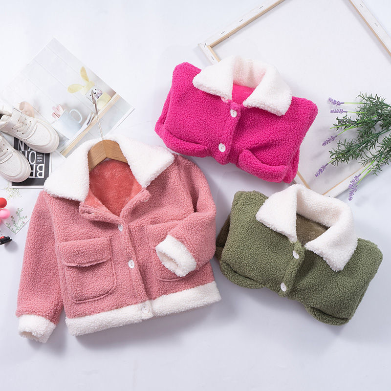 女童秋冬季外套加绒加厚毛毛衣儿童新款洋气上衣颗粒羊绒潮流外套