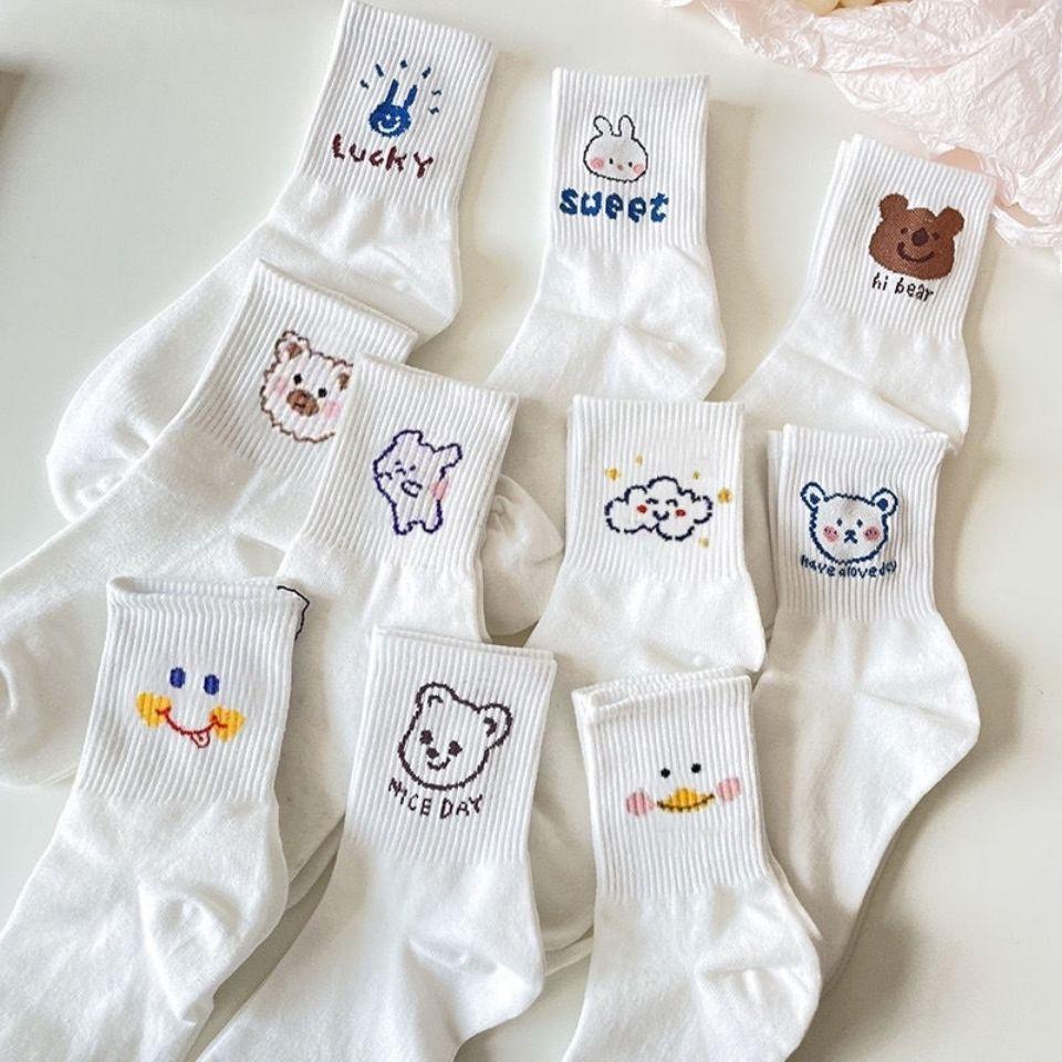 袜子女中筒韩版可爱日系白色学院风卡通网红运动长筒ins百搭潮袜