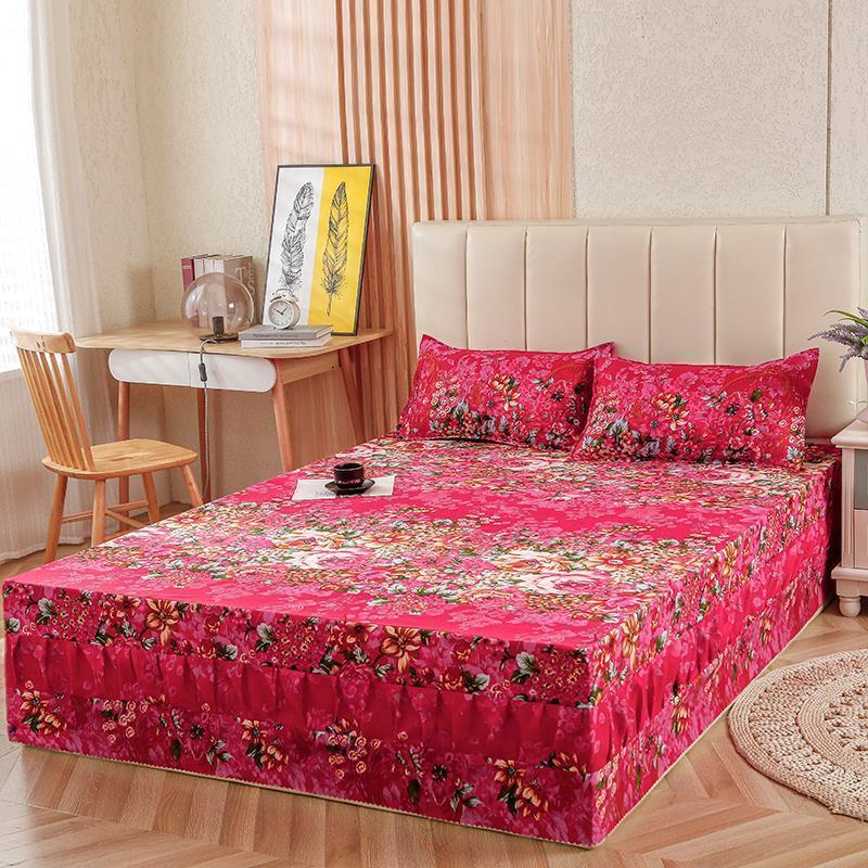 【床裙+枕套】加厚床罩床裙单件双人床套床单席梦思床笠保护罩冬