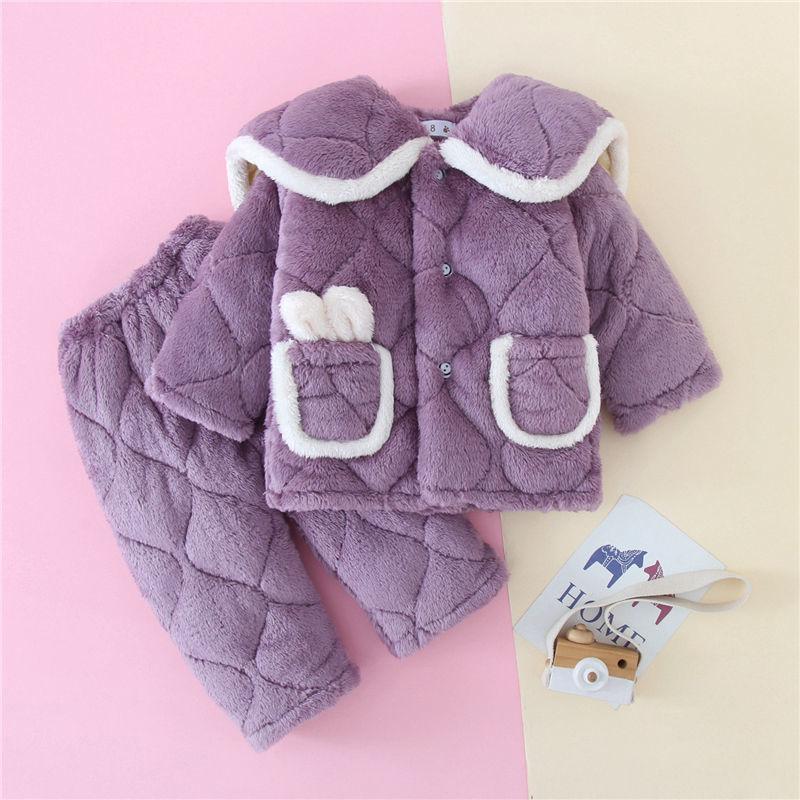 冬季儿童加厚睡衣女童三层夹棉法兰绒家居服套装宝宝男童加绒保暖