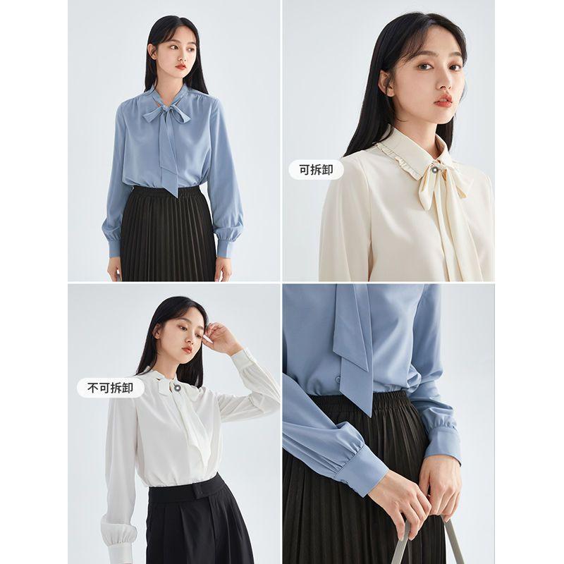 88793-茵曼早秋雪纺衬衫女长袖2021年新款立领绑带垂感优雅法式衬衣上衣-详情图