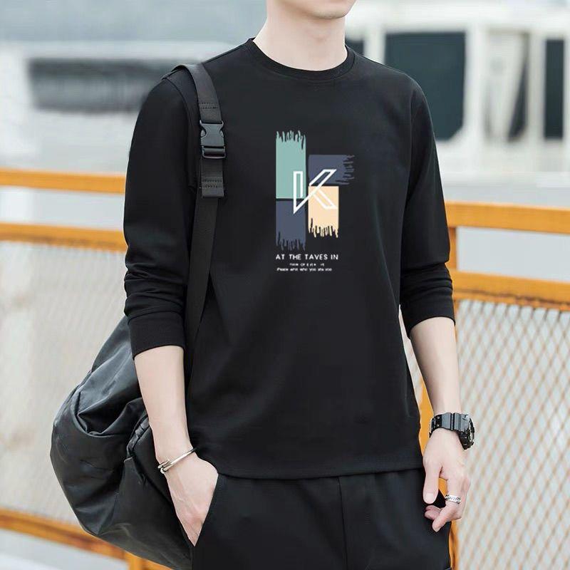 秋冬款加绒男士长袖T恤圆领印花时尚潮流青年男打底衫韩版修身男