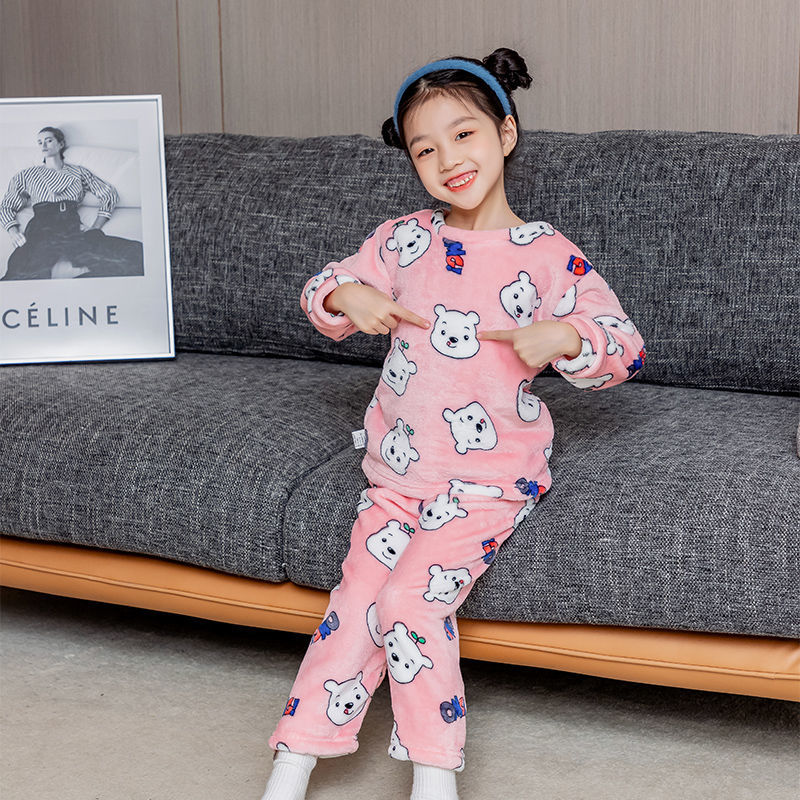 88804-1-13岁儿童法兰绒睡衣男童女童秋冬季家居服加厚款宝宝珊瑚绒套装-详情图
