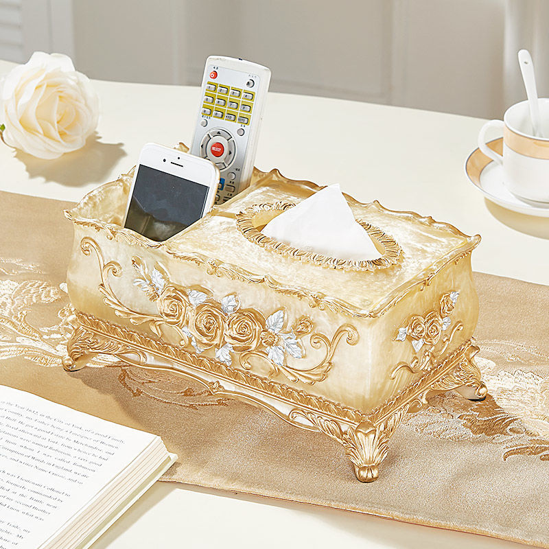 75697-欧式抽纸盒高档轻奢客厅创意家用纸抽收纳多功能茶几遥控器纸巾盒-详情图