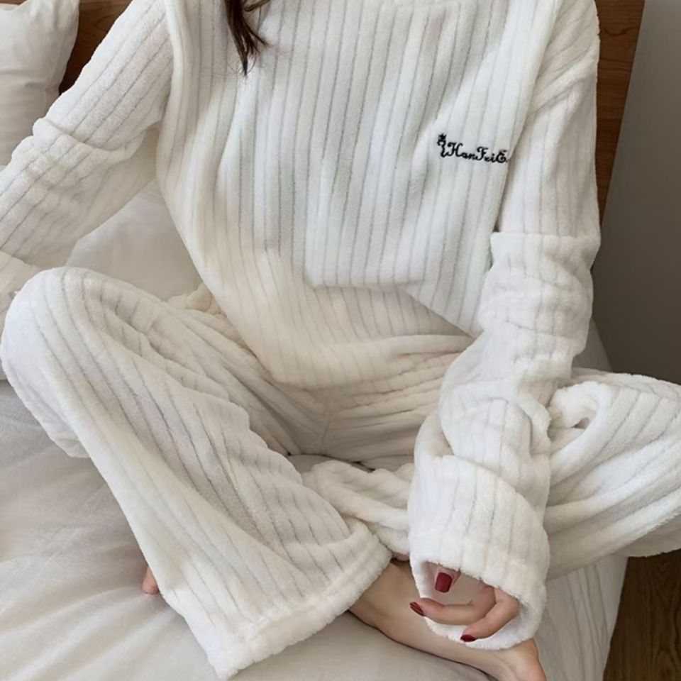75668-秋冬新款法兰绒两件套睡衣家居休闲保暖纯色加绒竖条纹暖暖套装-详情图