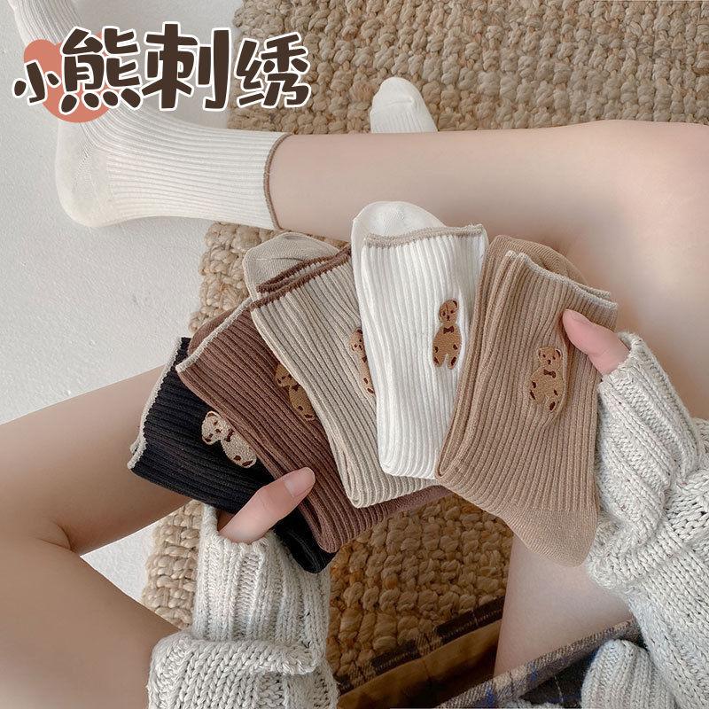 袜子女韩版中筒长筒秋冬可爱日系堆堆袜学生ins潮小熊袜子卡通袜