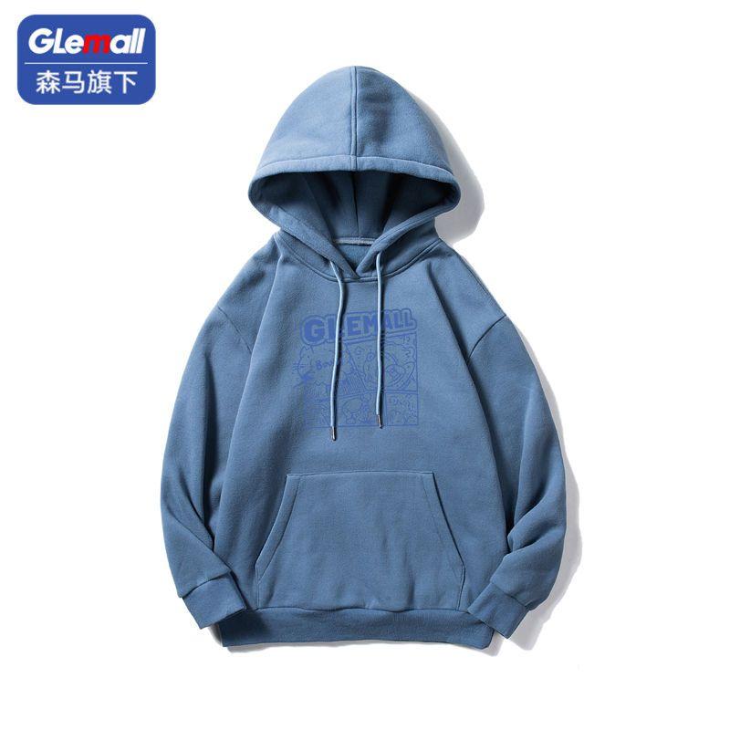 森马集团旗下GleMall连帽卫衣男士韩版潮流宽松印花卫衣休闲外套