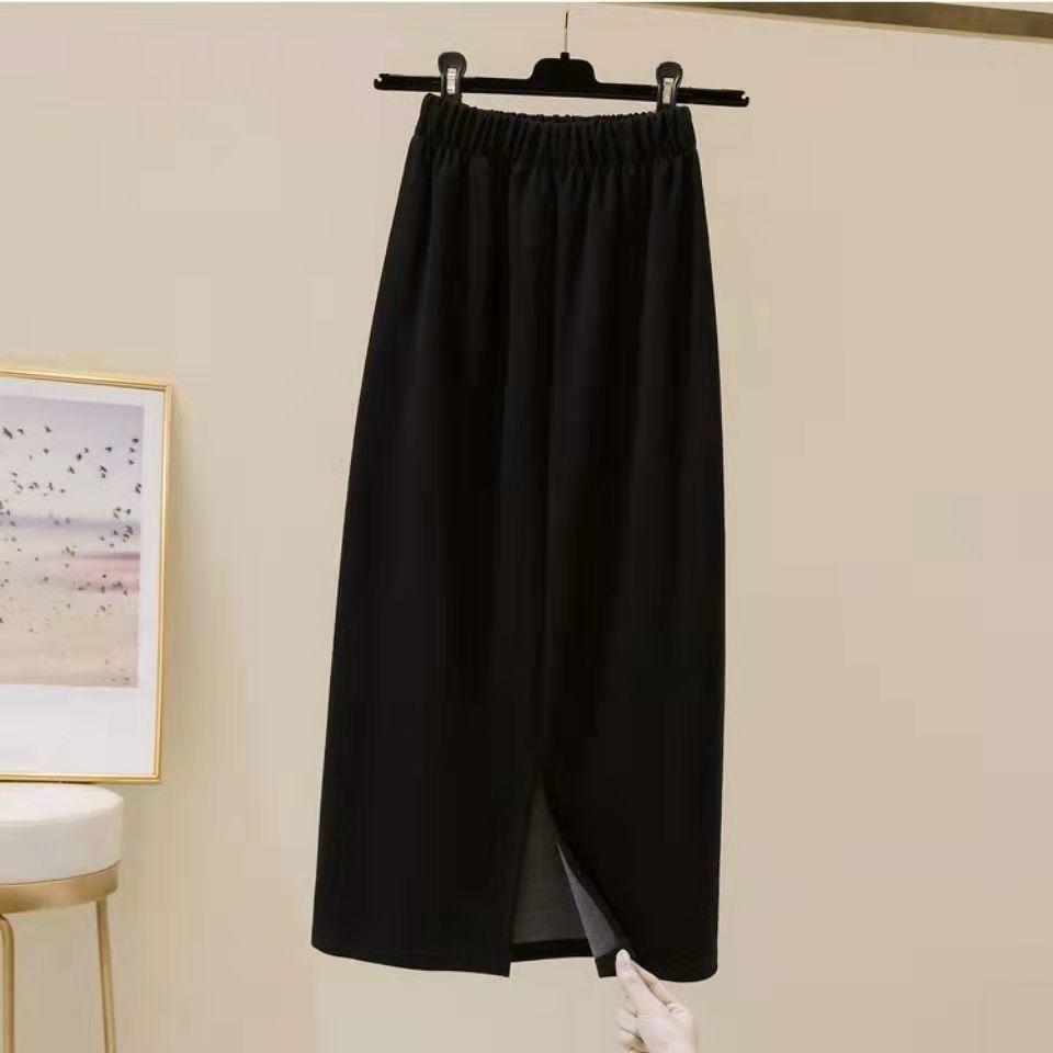 88811-2021秋冬新款A字开叉半身黑色松紧高腰包臀过膝垂感显瘦中长款裙-详情图