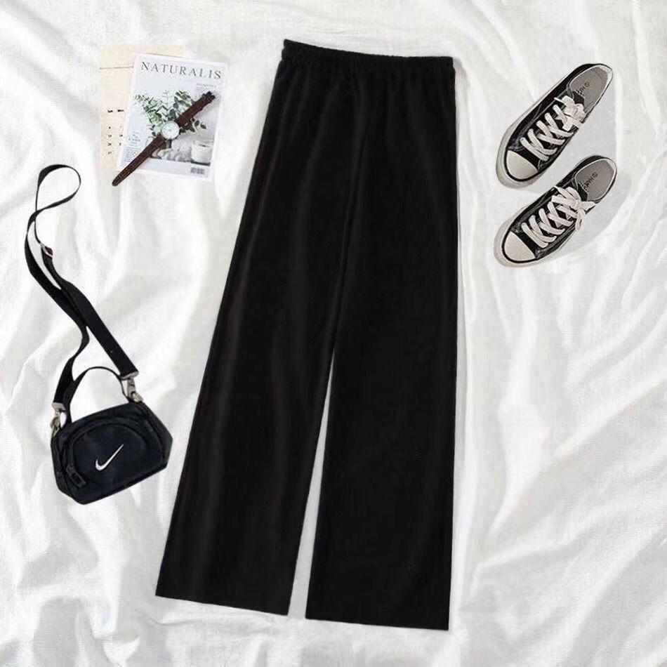 新款黑色阔腿裤女学生韩版宽松百搭九分裤