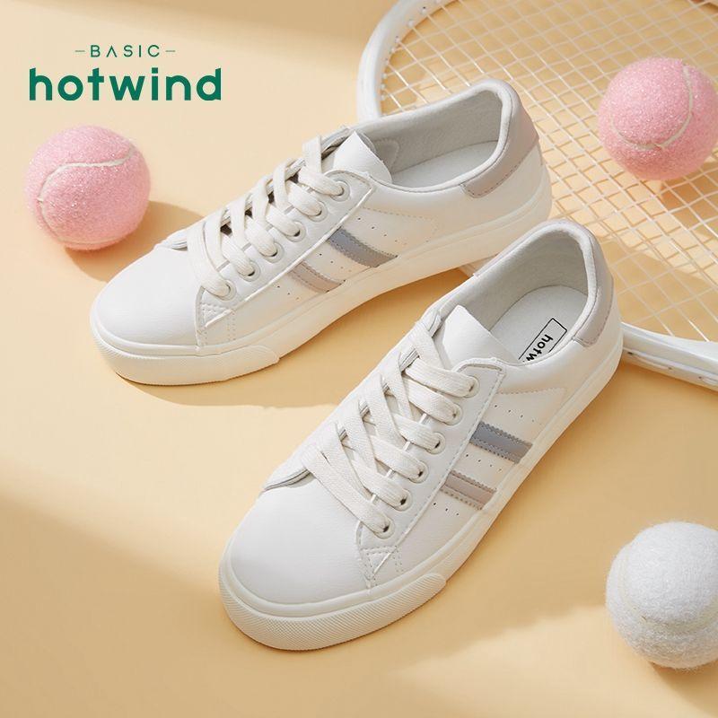 热风小白鞋女春季新款ins潮学生韩版百搭系带运动休闲鞋H14W0102