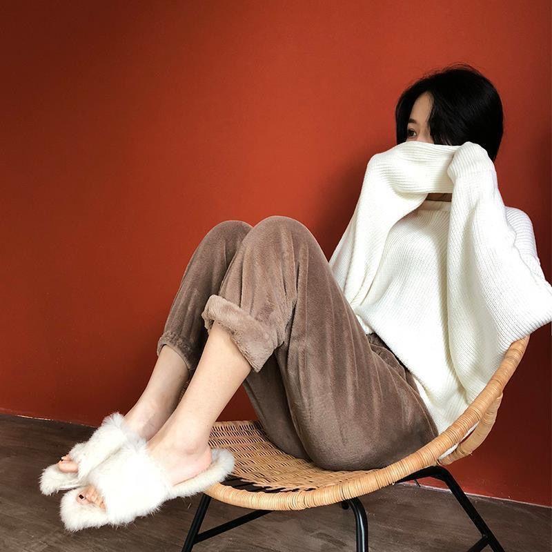 秋季温暖系仙女居家睡衣暖暖套装法兰绒加厚加绒仙女竖条纹暖暖裤