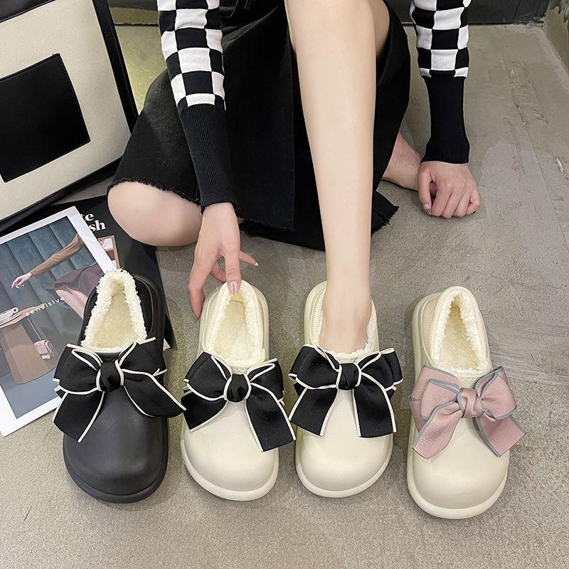 防水厚底棉鞋女2021秋冬款居家防滑月子鞋学生蝴蝶结加绒包跟棉鞋