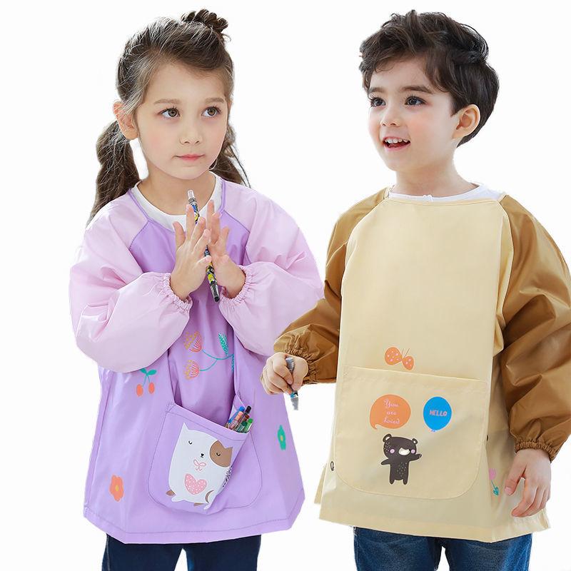 88739-LEMONKID儿童吃饭衣环保罩衣防水围兜儿童画画衣反穿衣夏季动物款-详情图
