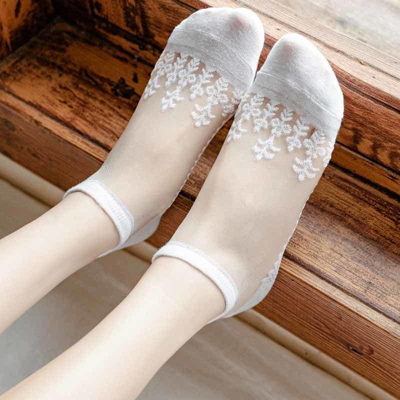 【秋季8双装】袜子女短袜水晶卡丝袜日系蕾丝隐形袜船袜女士丝袜