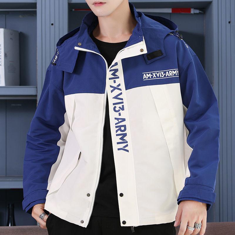 外套男学生韩版连帽夹克衫春秋季薄款青年男士帅气夹克