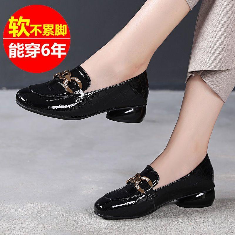 意尓㝩真皮平底单鞋女2021新款秋季软皮软底女鞋粗跟低跟小皮鞋