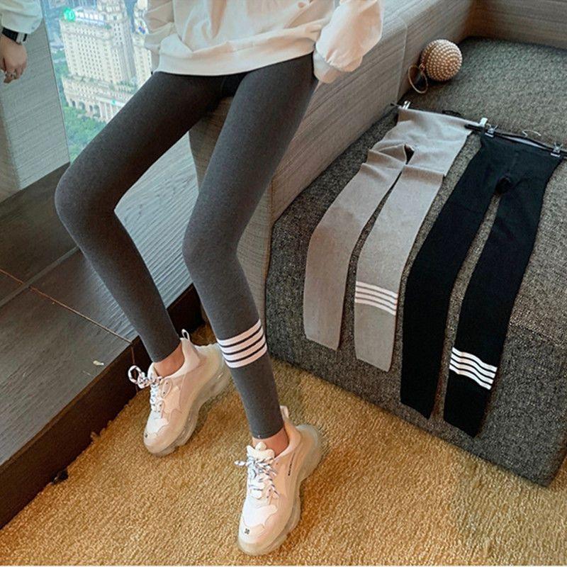 88555-冬季加绒加厚新款竖条打底裤女外穿长裤大码紧身弹力高腰一体裤-详情图