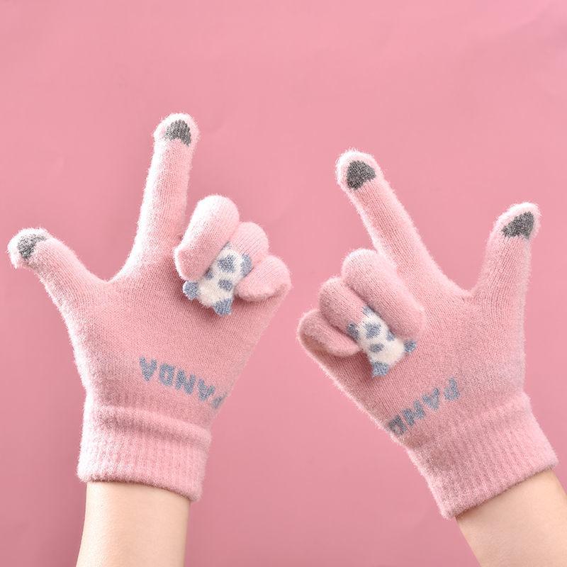 女士毛线手套可爱卡通学生保暖百搭韩版秋冬时尚防风骑行开车触屏