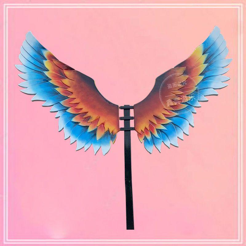 新款网红白色天使羽毛 景区带支架玻璃钢翅膀装饰少女心 打卡拍照