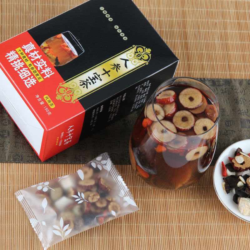 88583-人参十宝茶枸杞红枣花茶组合养生代用茶男人茶玛咖批价发用料十足-详情图