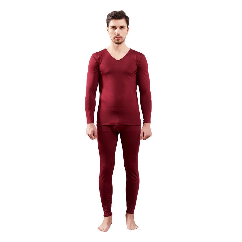 88913-男士无痕保暖内衣薄款加绒修身秋衣秋裤发热磨毛时尚打底套装-详情图