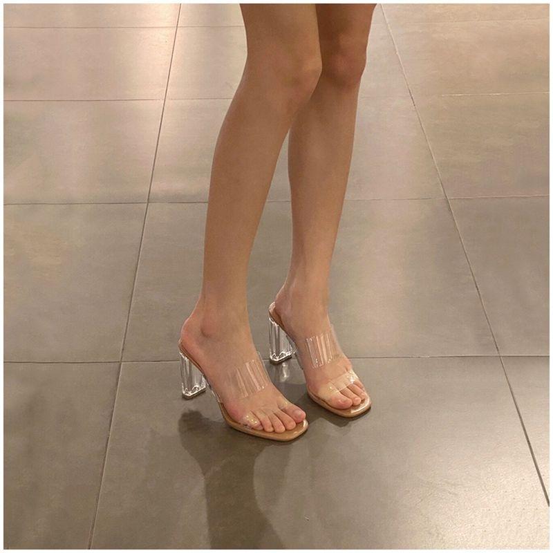 透明凉拖鞋夏外穿2021年新款方头一字高跟水晶时尚中跟粗跟凉鞋女