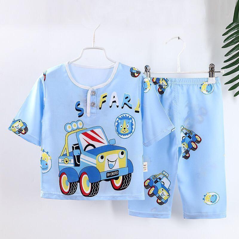 夏季儿童棉绸睡衣套装男童七分袖空调服