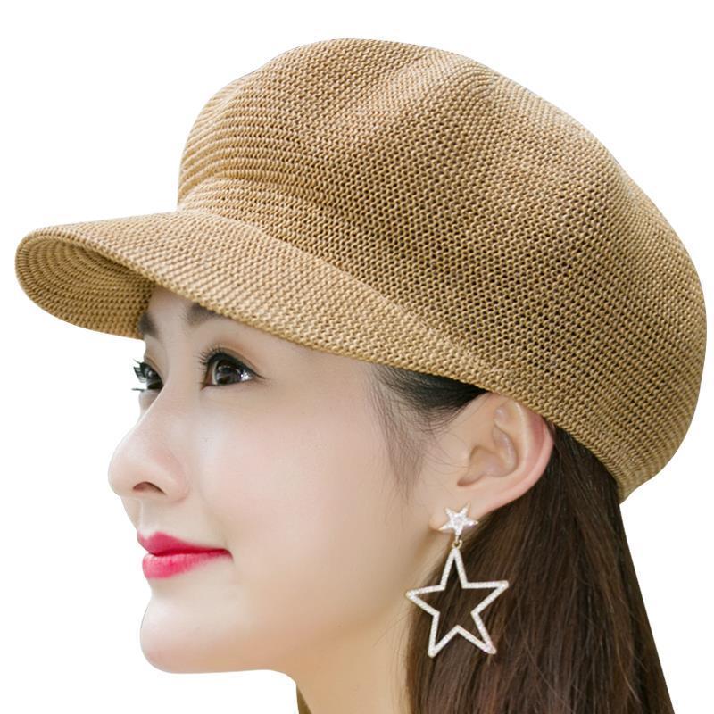 夏天新款透气遮阳帽女士凉帽八角帽休闲逛街贝雷帽亚麻八角帽