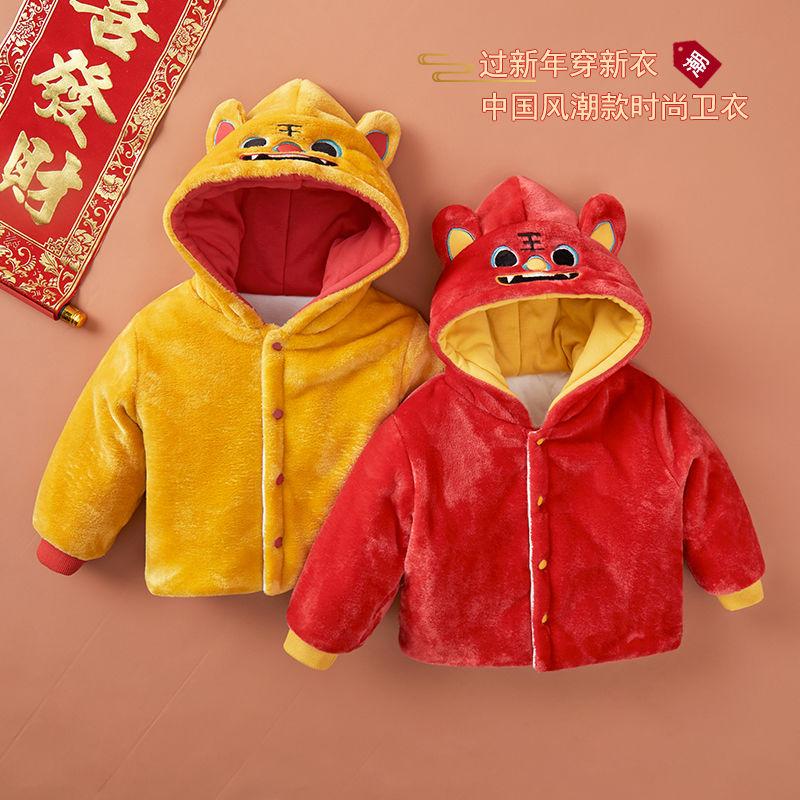 88768-嘟嘟家儿童加厚棉服冬装2021年新款棉袄宝宝红色过年服女童新年棉-详情图