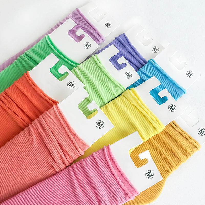 春夏薄款儿童袜子糖果亮色丝袜堆堆袜