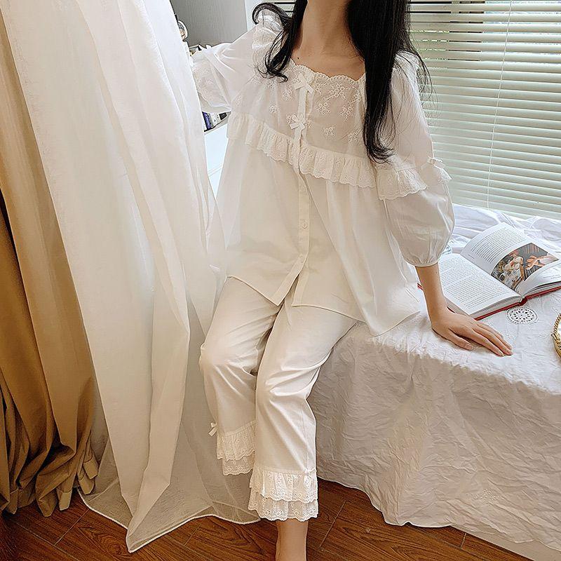 Home家穿上就是温柔的小可爱吖~它很舒适!仙里仙气纯白家居服!