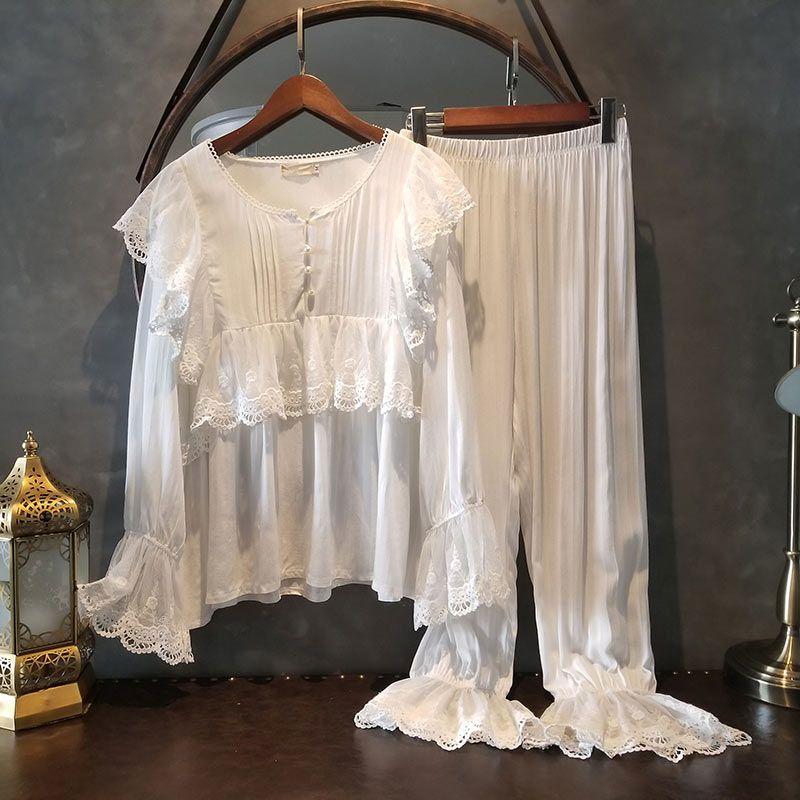 Home家美的不可芳物~温柔的配色!不同以往蕾丝纯色家居服两件套!