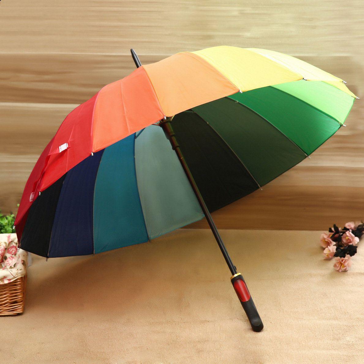 16K韩国创意彩虹伞 长柄自动雨伞 厂家直杆雨伞 定制印刷广告