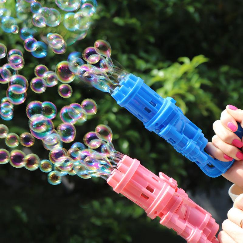 手持加特林吹泡泡机枪电动儿童玩具8孔网红ins少女心抖音全自动