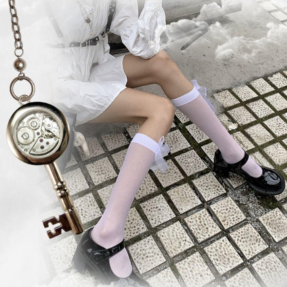 日系萌妹甜美白色小腿袜jk长筒过膝洛丽塔黑色丝袜蝴蝶结少女性感