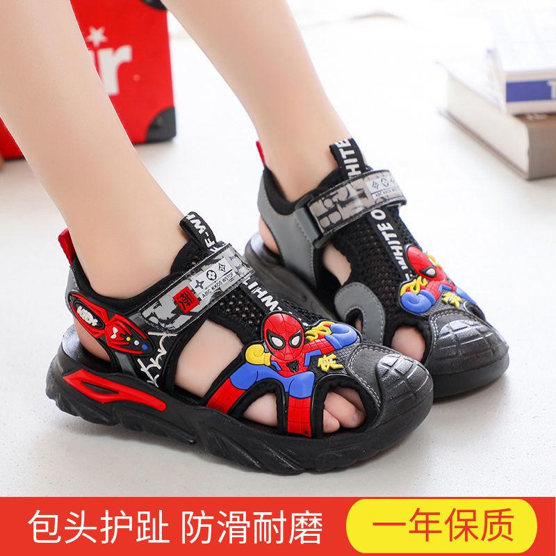 儿童凉鞋2021夏季新款蜘蛛侠男童包头凉鞋中大童小学生防滑沙滩鞋
