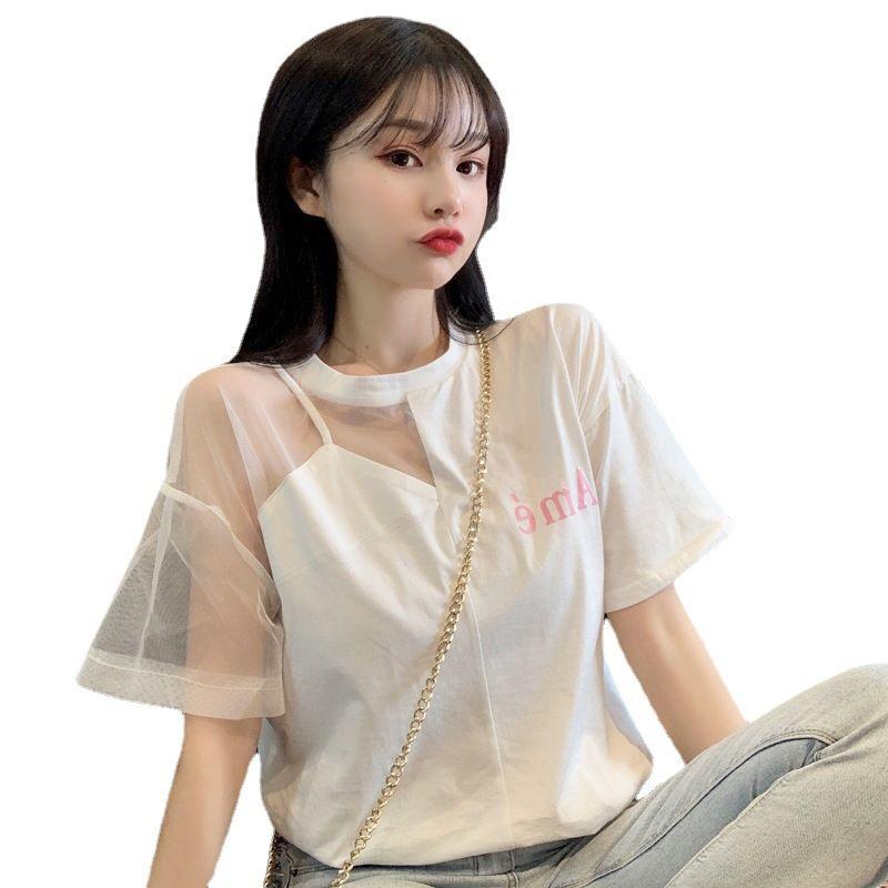 75890-2021年夏季洋气短袖气质网纱拼接露肩锁骨超仙小心机设计感上衣女-详情图